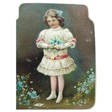 Germany Embossed Child Holding Spring Flowers Postcard Fröhliche Pfingsten Happy Pentecost