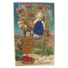 Valentine Day Postcard Two Children With Silk Applied Clothing Made In Germany