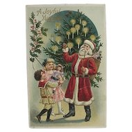 Santa And Child Play With Diabolo YoYo Toy Christmas Embossed Postcard
