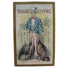 Thanksgiving Postcard Titled Rivals Uncle Sam With A Turkey And Eagle