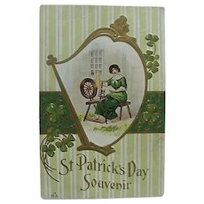 Embossed St Patrick's Day Souvenir Postcard With Shamrocks