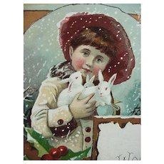 Lion Coffee Woolson Spice Co Christmas Trade Card Girl Holding Bunnies