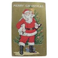 Christmas Postcard Girl Riding Piggyback On Santa