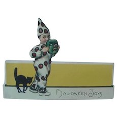 Halloween Placecard By Hallmark With Boy Dressed As Clown And Black Card