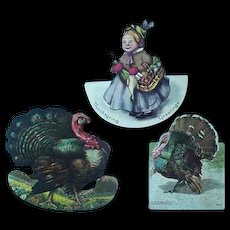 Diecut Advertising Trade Card Turkey Hood Sarsaparilla Rice's Pan Dandy Bread  Lot of 3