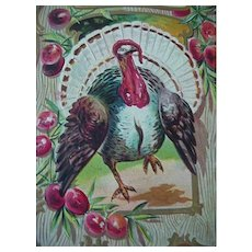 Thanksgiving Embossed  Postcard Of Turkey With Wing Outstretched Title Thanksgiving Joys