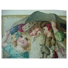 Santa Under An Umbrella With Girls Embossed Postcard By John Winsch 1914