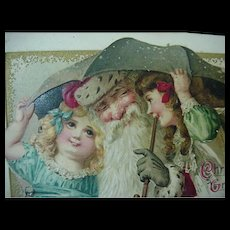 Santa Under An Umbrella With Girls Embossed Postcard By John Winsch 1914