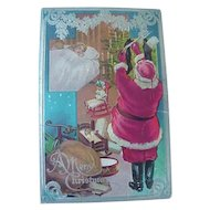 Night Before Christmas Series No 1 Embossed Santa Postcard Filling Stocking With Goodies