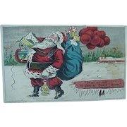 Title I'm On My Way To Santa Claus Barn Postcard Santa With Toys And Balloons