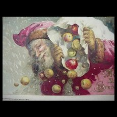 John Winch Embossed  1913 Santa Losing His Apples Out The Bag