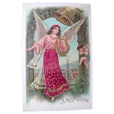 Lovely Christmas Angel Holding Harp Postcard