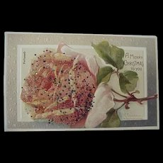 Vintage Perfumed A Merry Christmas To You Postcard With Applied Glass Coralene And Glitter