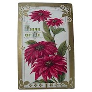 Poinsettia Christmas Postcard Titled Think Of Me