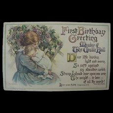 Baby's First Birthday Greeting Postcard