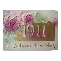 Happy New Year Embossed Postcard 1911