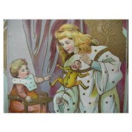 Angel Playing With Baby And Toy Christmas Postcard