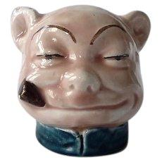 Majolica Pottery Bank Pig With Cigar