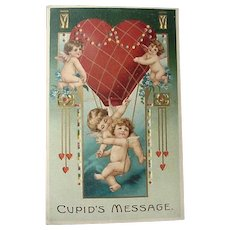 Hold To Light Cupid's Message Valentine Postcard 1911