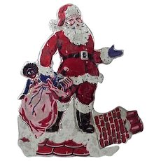 Vintage Santa And Golliwog In Bag Standup Card Made In England