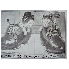 F Bluh Postcard Two Cats In Shoes