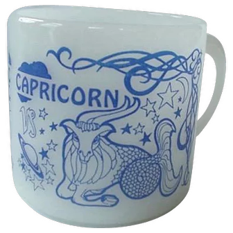 Milk Glass Federal Zodiac Mug Capricorn