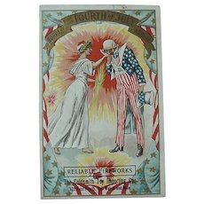 Fourth Of July Advertising Postcard Uncle Sam And Lady Liberty
