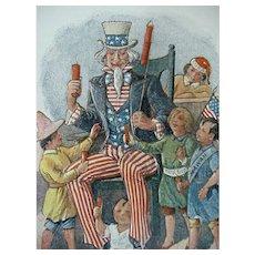 Postcard Uncle Sam With Kids Guam Hawaii Artist Signed Lounsbury