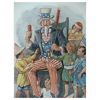 Postcard Uncle Sam With Kids Guam Hawaii Artist Signed Lounsbury