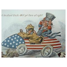 Patriotic Postcard Teddy Roosevelt And Uncle Sam Artist Signed Fred Lounsbury