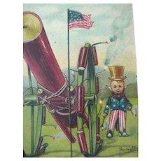 Patriotic Postcard Artist Sign Bunnell Title The Man Behind The Gun