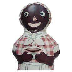 Black Americana Aunt Jemima Advertising Oil Cloth Doll 50's