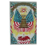 Independence 4th July Postcard With Liberty Bell Flag Firecrackers