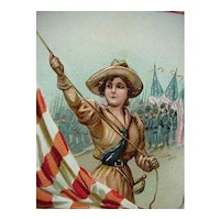 Raphael Tuck & Son Incised Decoration Memorial Day Postcard Woman Raising Flag