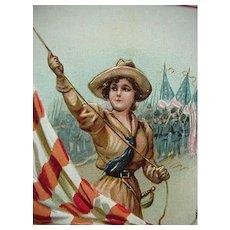 Raphael Tuck & Son Incised Decoration Memorial Day Postcard Woman Raising Flag
