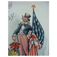 4th Of July Postcard With Uncle Sam Flag And Firecracker By Fred Lounsbury