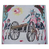 Uncle Sam Lighting Cannon July 4th Postcard