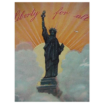 Lady Liberty Vintage Postcard Entitled Liberty For All