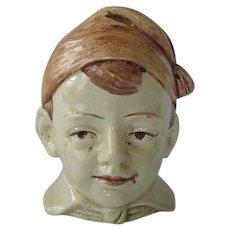Vintage Majolica Figural Boy Bank 1920s