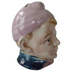 Vintage Colorful Majolica Figural Still Bank