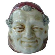 Vintage Majolica Figural Bank Smiling Monk