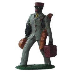 Black Americana Train Porter Metal Figurine