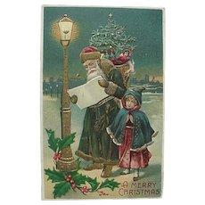 Embossed Christmas Postcard Santa In Green Made In Germany