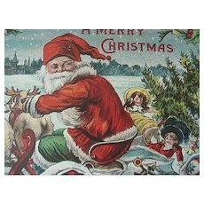 A Merry Christmas Postcard Santa In Sleigh