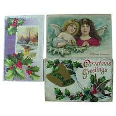 Christmas Scenes Angel Christmas Postcard Lot of 3
