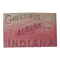 Greetings From Auburn Indiana Postcard By United Art Publishing Co