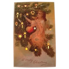 Vintage Hold To Light Christmas Postcard Angel Decorating Tree