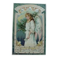 Raphael Tuck & Co Angel Carrying Christmas Tree Postcard