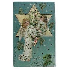 Fröhliche Weihnachten Christmas Postcard Two Angels Decorating Tree