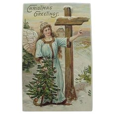 Christmas Greetings Postcard Made In Germany Angel And Tree